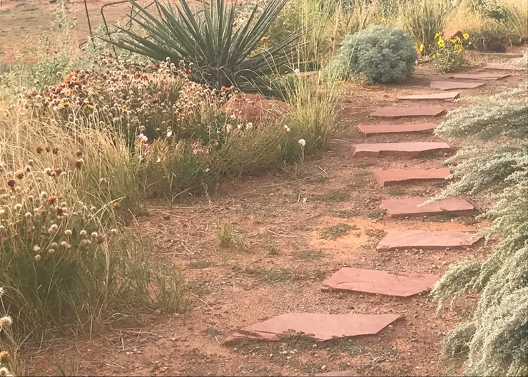 red flagstone path
